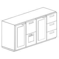 Охлаждаемый модуль барный со стеклянными дверьми 1800x595x870